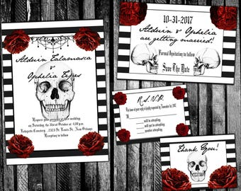 Stripes, Skulls, and Roses Gothic Halloween Wedding Invitation, Save the Date, RSVP, and Thank You Digital File Kit Printable