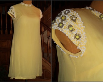 60's Mother of the Bride Dress MOD Wedding Beaded Organza Overlay Lemon Yellow Ribboned Seed Bead Nugget Embellisment
