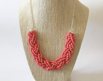 Coral Beaded Braid Necklace