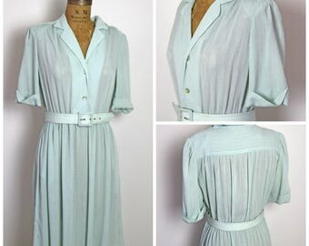 1970s Sage Green Butte Knit Dress