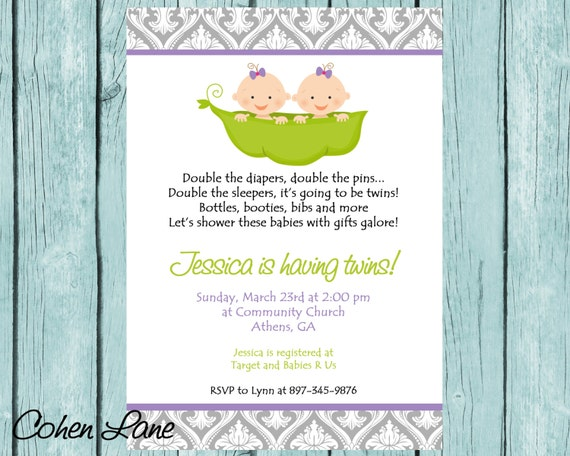 Printable Two Peas In A Pod Invitation Twins Girl Baby Shower