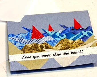 Seashore Notecard, Original Textile Fiber Art Greeting, Love You More Than the Beach Blank Note Card, Valentines Day Card itsyourcountry