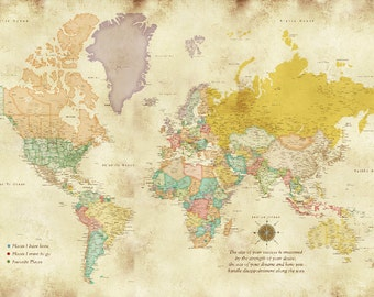 Large Wall Map, Detailed Worldmap Print, 30X45 In, 1st Anniversary, World Travel, Home Office decor, Paper Anniversary, Teenage Room Decor