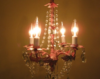 Small Pink & Silver Glass Bead Chandelier