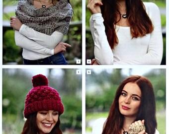 Womens Knitting Pattern K4617 Ladies Lace Shawl, Headband, Bobble Hat & Wristwarmers Super Knitting Pattern Chunky (Super Bulky) King Cole