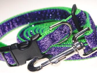 "Lavender Glitter on Lime3/4"" Width Adjustable Collar & Leash"