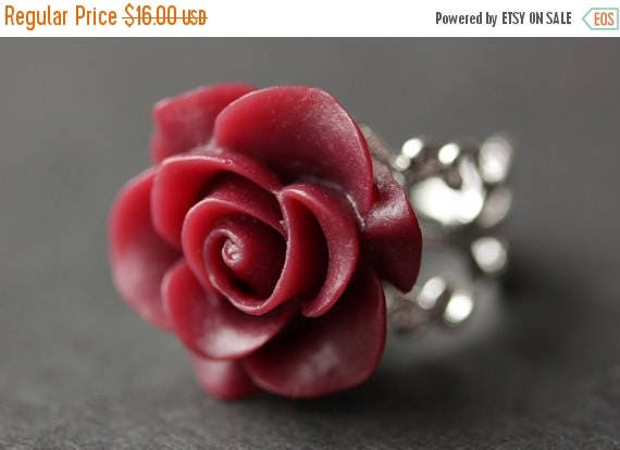 MOTHERS DAY SALE Maroon Rose Ring. Dark Red Flower Ring. Gold Ring. Silver Ring. Bronze Ring. Copper Ring. Adjustable Ring. Handmade Jewelry