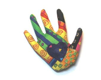 Laurel Burch Fabric Hand Brooch Reverse Applique Hamsa Pin Ready to Ship