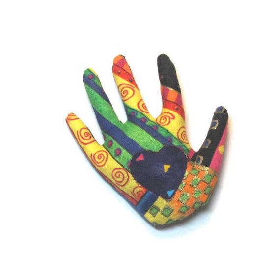 Laurel Burch Fabric Hand Brooch ~ Reverse Applique Hamsa Pin ~ Ready to Ship