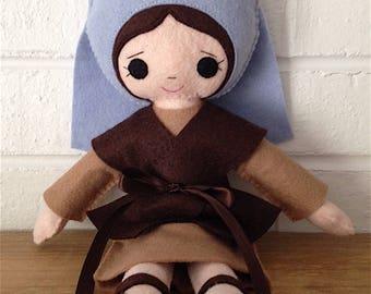 Catholic Toy Doll - Saint Bernadette - Wool Felt Blend - Catholic Toy - Felt Doll