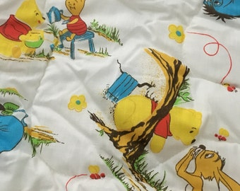 Vintage baby sleeping bag like pouch comforter blanket zippered winnie the pooh bunting