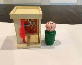 Vintage Fisher Price PHone booth Little People with green wood base man