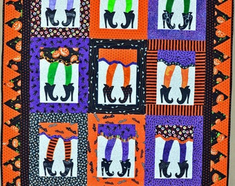 Halloween Quilted Throw - Witch's Legs Quilted Halloween Throw