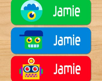 Kids Robots Waterproof Name Labels, Personalized Robot Daycare Labels, Robot Baby Bottle Labels, School Labels, Dishwasher Safe