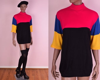 80s Color Block Short Sleeve Sweater/ One Size/ 1980s