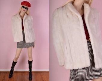 80s Ivory Faux Fur Coat/ Large/ 1980s/ Jacket