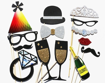 Wedding Party Photo Booth Props - 14 Piece Wedding Favor Party Set - Photobooth Wedding Photo Props Birthday