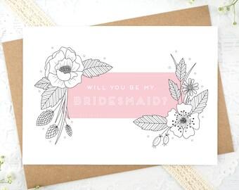 Bridesmaid Card - Will you be my Bridesmaid - Be my bridesmaid? - Bridesmaid proposal - Botantical Bridesmaid Card