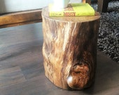 Tree stump table - Reclaimed Wood table - Cabin decor - Cottage decor - Log table - End table -  Lamp table -  accent table- Side table