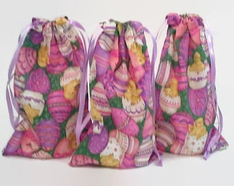 Easter Eggs and Chicks Drawstring Fabric Gift Bag Upcycled, Reusable
