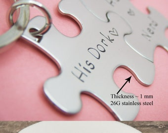 I love you I love you more, Couple Keychain, Unique Wedding Gift, Puzzle Piece Keychains, Couples Gift, Non Customizable