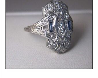 Antique Art Deco Platinum Diamond Sapphire Filigree Engagement Dinner Ring