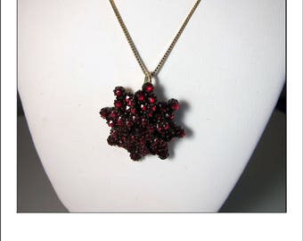 Antique Victorian Rose cut Bohemain Garnet Star Pendant Brooch