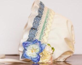Baby Bonnet - Ivory Newborn Photo Prop - Vintage Inspired Prop - Baby Hat - Newborn Bonnet - M2M Watercolor Well Dressed Wolf