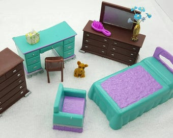 Wolverine Youth Bedroom pieces Doll House Toy  Soft Plastic Bed Dressers Desk Arm chair Teal Purple Brown
