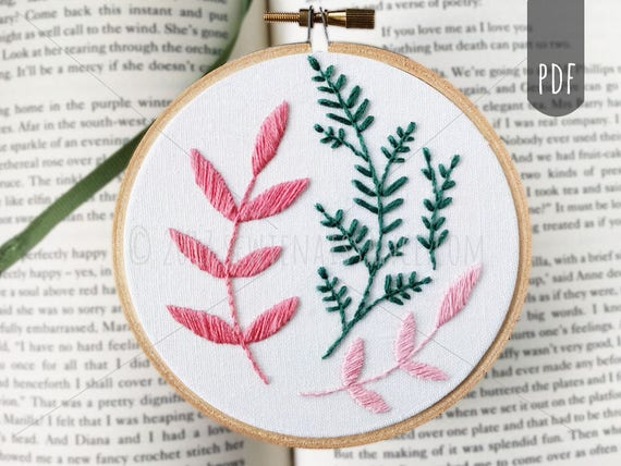 Beginner embroidery pattern botanical leaves hand