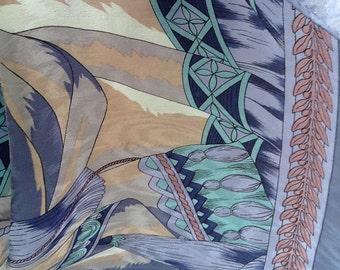 Ginnie Johansen silk scarf Vintage damask blue turquoise raspberry camel free shipping USA