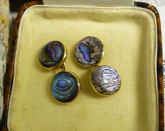 ANTIQUE 9 Carat Gold CUFFLINKS Abalone Mother of Pearl