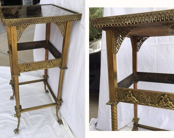 French brass table Neoclassical side table French mirrored table claw feet American Aesthetic antique brass bed table Victorian plant stand