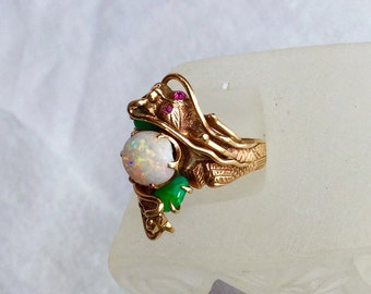 14k dragon ring solid yellow gold huge opal jade estate ring by pass ring bypass Art Deco size 8.5 to 9 and HUGE
