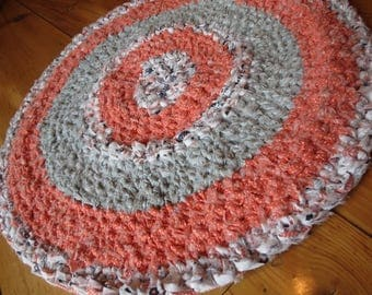 WOW SALE - Crocheted Rag Rug 100% Cotten Peach/Grey 23 inches