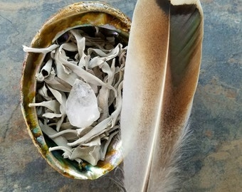 White Sage Smudge Kit, Space Clearing, Energy Cleansing, Herbal Incense, Energy Clearing, Ceremonial Cleansing, Ritual Smudge, Loose Smudge