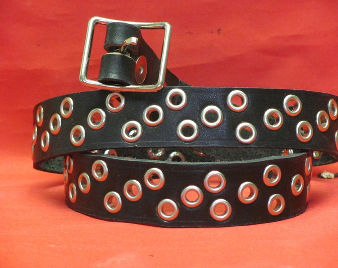 black leather belt, Leather Belt,Unisex Belt.belts and suspenders,leather belt with grommets,mans belt, womans belt