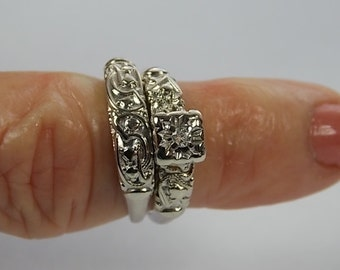 1950s Diamond Bridal Set .06Ct White gold 14K 4.2gm size 5 3/4 Wedding