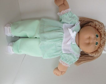 "16"" Girl Cabbage Patch Mint Green Pant Set"