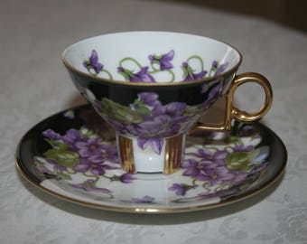 Vintage Demitasse Cup and Saucer Set Mitterteich Bavaria Germany Fine Bone China Crown White Black Purple Gold Violets Floral Flowers