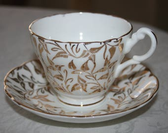 Vintage English Castle Fine Bone China Made in Straffordshire England Cup and Saucer White Gold