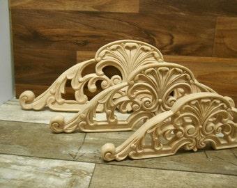 "Carved Wood-Appliqué- Hand Carved Applique-  Elegant   Onlay -HardWood- 18 1/4"" w or 14 11/16"" w or 11 1/8"" w   ref.Mj9"