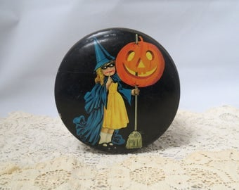 Vintage Halloween Tin Girl Witch With Jack-O-Lantern Tindeco Owl Bat Cat Art Deco Lithograph Litho Tin Decorating Company