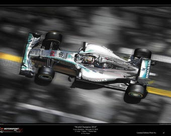"Lewis Hamilton ""World Champion 2014"" F1 Mercedes W05 Limited Edition Art Print from an original painting."