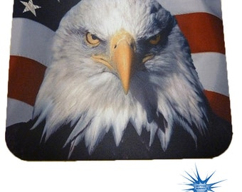 Eagle Head with Flag Anti Slip PC Gamer Picture Mouse Pad