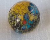 Vintage cloisonne bead floral antique yellow black russet RARE ROUND 18mm