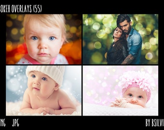 Bokeh Overlays, 55 Bokeh Overlays, Bokeh Textures, Instant Download, Commercial Use