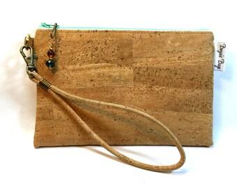 Cork wristlet, vegan purse, tan wristlet, natural cork fabric bag, cork fabric purse, vegan leather bag, eco friendly bag