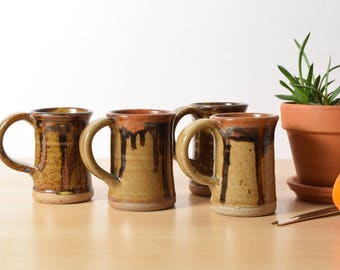 Two Stoneware Mugs, Hand Thrown Pottery, Brown Drip Glaze, Coffee Cups, Tea Cups, Earth Tones