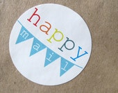 Happy Mail Banner Bunting Stickers Labels Rainbow Colorful Mailing Labels Shipping Labels